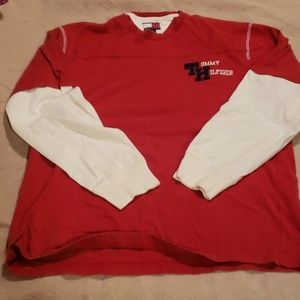 Men's Medium Tommy Hilfiger Red and White Shirt